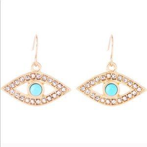 NWTs Eye Candy Earrings Evil Eye Rhinestones Hang